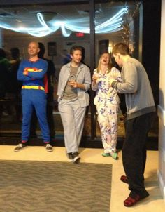 Friends hang w Superman, 5th Annual Pajama Party
