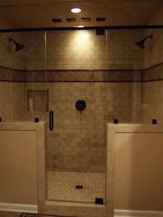 Various Dual Shower Designs: Warm Master Bathroom Walk In Shower And Double Vanities ~ shorty114.net Bathroom Inspiration