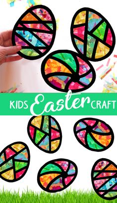 Kids Craft Easter Egg Spring Stained Glass Suncatcher Kit Using Tissue paper, Ar. - Kids Craft Easter Egg Spring Stained Glass Suncatcher Kit Using Tissue paper, Arts and Crafts Kids - Easter Arts And Crafts, Easter Crafts For Toddlers, Spring Crafts For Kids, Easter Crafts For Kids, Art For Kids, Summer Crafts, Art Children, Paper Easter Crafts, Easter With Kids