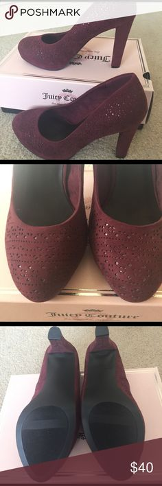"""NWT Juicy Couture Pumps 👠 New and so sexy Juicy Couture Pumps in burgundy. Laser cut design lined with some shimmer inside. Feels like suede material. 4"""" heels. Footbed is cushy for extra comfort. Juicy Couture Shoes Heels"""