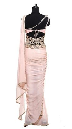 back of Corseted Peach Saree | Strandofsilk.com - Indian Designers