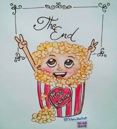 The end! Hoy he terminado el primer cuaderno que recoge todos los dibujos de cada día!! Mañana comienzo uno nuevo para seguir con el reto!! #undibujoparacadadía #77 #happy #popcorn #theend #cuaderno #ilusion #newbook #illustration #design #art #sketchbook #doodle #watercolor #drawing #inktober #artist #ink