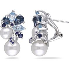 Michiko 3 CT TW Natural Pearl and Topaz Polished Sterling Silver Drop Earrings