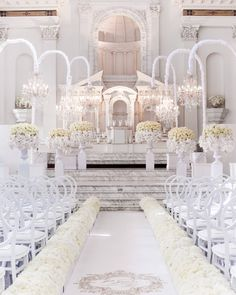 This picture has us dreaming of an all white wedding! - Still dreaming about the ceremony design! :) Design &Planning Flowers and design Rentals Venue Photography Image credit: Wedding Stage, Wedding Goals, Wedding Themes, Wedding Designs, Wedding Ceremony, Wedding Planning, Star Wedding, Wedding Ideas, All White Wedding