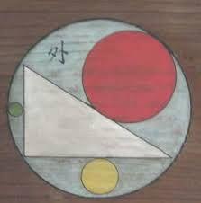 Se o triângulo estiver inscrito na semicircunferência, e o círculo (b) for tangente ao lado do triângulo, no seu  ponto médio, e à circunferência maior (a), determina a razão entre o diâmetro do círculo maior (a) e o do  círculo (b)