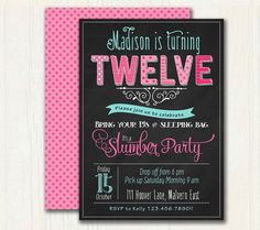 Pyjama Party Birthday Invitation.  by TracyAnnPrintables on Etsy