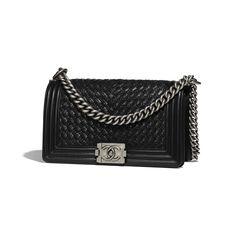Braided Calfskin   Ruthenium-Finish Metal Black BOY CHANEL Handbag ff46b5077bef0