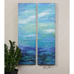 Moonlight Over Water Wall Art S/2 by Uttermost   34263 - $393, free shipping, no tax