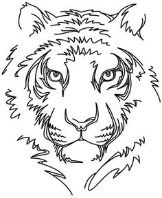 Minimal lines define the face of a strong, silent tiger. Downloads as a PDF. Use pattern transfer paper to trace design for hand-stitching.