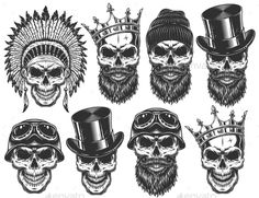 Set of Different Skull Characters – Miscellaneous Vectors – skull tattoo sleeve Hand Tattoos, Skull Sleeve Tattoos, Belly Tattoos, Skeleton Tattoos, Skull Finger Tattoos, Mexican Skull Tattoos, Indian Skull Tattoos, Tattoo Main, Back Tattoo