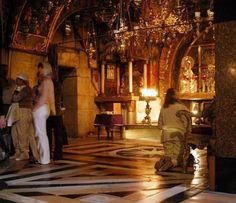the Via Dolorosa: Worshippers and Visitors at Calvary or Golgotha