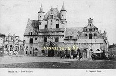 postkaart van Mechelen  Hallen (huidig stadhuis) aan de Grote Markt