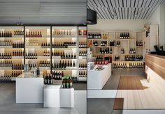 Enolora wine shop by act _ romegialli, Chiuro – Italy » Retail Design Blog. Nice shelving with lighting