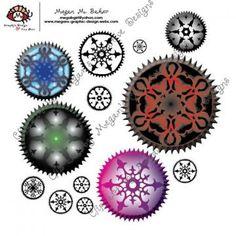Intricate Ornate Gears Clip Art Digital Steampunk Scrapbooking Printable Unlimited PNG by MegansBeadedDesigns for $1.99