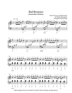 Bad Romance by Lady Gaga Piano Sheet Music | Intermediate Level