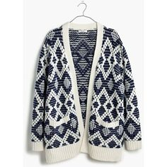MADEWELL Contrast Fair Isle Cardigan Sweater (€130) ❤ liked on Polyvore featuring tops, cardigans, antique cream, open cardigan, madewell cardigan, open front cardigan, cream top и madewell