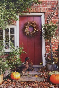 a nice deep-red door on a red brick house Autumn Day, Autumn Home, Autumn Leaves, Autumn Girl, Winter, Porches, Front Door Colors, Front Doors, Red Doors