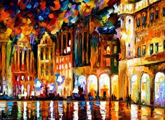 """BRUSSELS - GRANDE PLACE — PALETTE KNIFE Oil Painting On Canvas By Leonid Afremov - Size 30""""x40"""""""