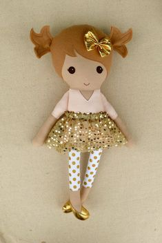 Reserved for Cheryl - Fabric Doll Rag Doll Light Brown Haired Girl in Pink Linen Dress with Polka Dotted Leggings and Gold Sequined Skirt