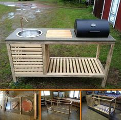 DIY Backyard Barbeque Unit Plans, This link connects you to an amazing DIY pay that has so many ideas Outdoor Sinks, Diy Outdoor Kitchen, Outdoor Cooking, Outdoor Decor, Outdoor Kitchens, Fish Cleaning Table, Fish Cleaning Station, Bbq Stand, Portable Barbecue