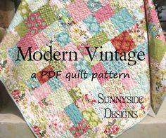 This pattern uses a layer to create a scrappy balanced look. The main instructions are for a quilt top that measures a generous sized throw 65.5 by 74.5. For this size it requires 1 layer cake, 2/3 yard for binding, 1 yard for the border, and 4 yards for backing, and batting of your