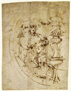 A roughly shaped sketch by Filippino Lippi (c.1457-1504) in the British Museum is drawn with his characteristic nervous and rhythmic graphic style, with the pen darting about the paper at speed. Although the motifs in the British Museum drawing appear to have been invented and not copied, Lippi captures the very essence of grotesque design.
