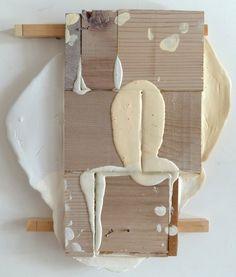 """Functioning Form"", 275 x 240 mm, acrylic, masking tape, panel pins, wood. Glen Snow"
