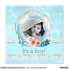 Shop Bubbles Baby Boy Nautical Lifesaver Floral Dot Invitation created by JoSunshineDesigns. Baby Invitations, Invites, Life Savers, Baby Cards, Beautiful Babies, Invitation Design, Your Favorite, Nautical, Create Your Own