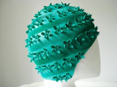 Vintage green swimming cap 3D floral pattern by itsvintageindeed
