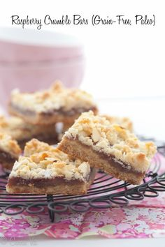 You will love these raspberry crumble bars. This grain free version is not too sweet with a crumbly coconut-almond topping.