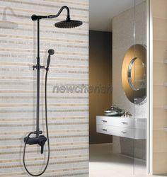 Black Oil Rubbed Brass Bathroom Rain Shower System Faucet Set Mixer Tap for sale online Bathroom Shower Faucets, Shower Mixer Taps, Shower Faucet Sets, Bronze Bathroom, Shower Tub, Bathroom Fixtures, Shower Heads, Plumbing Fixtures, Bathroom Black
