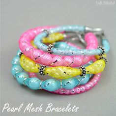 These DIY mesh pearl bracelets put a fun twist on the traditional beaded bracelet & the possibilities to customize it for yourself are practically endless!