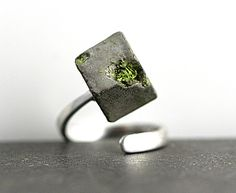Silver Rings – CONCRETE & real MOSS sterling silver ring – a unique product by VillaSorgenfrei via en.DaWanda.com