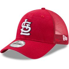 2dcb0325cd44b9 Men's St. Louis Cardinals New Era Red Trucker Washed Original Fit 9FORTY  Adjustable Hat St