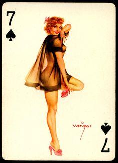 Alberto Vargas - Pin-up Playing Cards (1950) - 7 of Spades