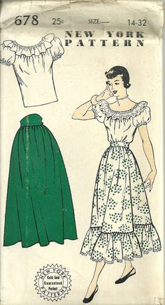 Deadstock 1940s/ 1950s Dress Pattern! Unused original! Senorita style. Perfect for VLV. Seperate two piece gathered skirt with or without