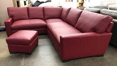 This Beautiful Red Leather Sectional is on it's way to the Big Apple!  This Braxton Mini L Sectional was made with the long side on the RAF side (right side when facing). This customer selected Cushion Option 2 and added a small matching Braxton Leather Ottoman. The leather used is a semi-aniline protected leather, finished in Italy and made with European hides.