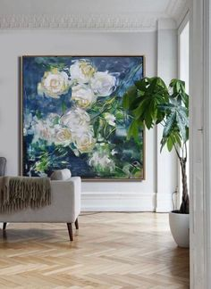 Lovely semi abstract floral painting Oil Painting Flowers, Abstract Flowers, Love Painting, Oil Painting On Canvas, Abstract Art, Large Canvas Art, Gold Art, Art Auction, Art For Sale