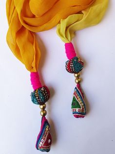 Handmade embroidered unique Tassel summer yellow by iThinkFashion, $25.00