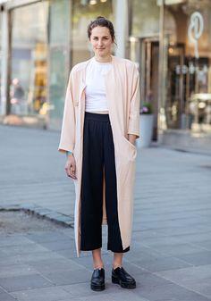 black culotte beige long coat