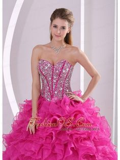 Fuchsia Ruffles Ball Gown Sweetheart Beaded Decorate Quinceanera Gowns in Sweet 16  http://www.fashionos.com/#
