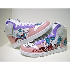 NIKE DUNK HELLO KITTY SOME FOR THE LADIES - Hypebeast Forums ❤ liked on Polyvore featuring shoes and hello kitty