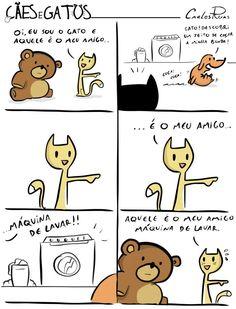 Cães e Gatos - Um Sábado Qualquer Bat Family, Haha, Dog Cat, Geek Stuff, Humor, My Favorite Things, Comics, Funny, Cute