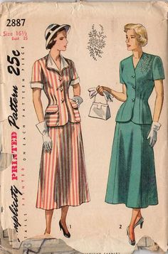 Vintage 1940s Simplicity Sewing Pattern 2887 Ladies 2 Piece Suit Dress Bust 35 Hip 38 - Avid Vintage - 1
