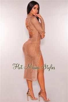 Rose Gold Metallic Knit Cut Out Back Slit Midi Dress