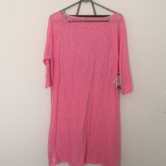 NWT Lilly Pulitzer pink polka dot Cassie dress Never been worn, new with tags Lilly Pulitzer Cassie dress, Sz L with cute pink polka dots. Part of the fluorescent collection, three-quarter length sleeves. **NO TRADES** Lilly Pulitzer Dresses