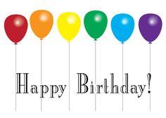 Happy Birthday-Rainbow Balloons visit - www.LoudandProudGreetingCards.Com