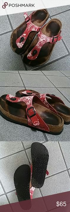 Red and White Floral Papillo Birkenstocks Authentic, made in Germany. Pretty, hard to find, unique pattern. Gently worn, mild wear on soles and patterned uppers as pictured, in great shape. Great Summer sandal. Birkenstock Shoes Sandals