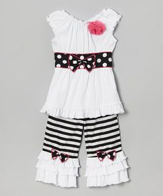 This Black & White Tina Top & Ruffle Pants - Infant, Toddler & Girls by AnnLoren is perfect! #zulilyfinds