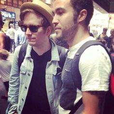 Patrick Stump and Pete Wentz.They are lovely friends,they're just the best!I wish there was more friends like this.You know friends that kiss each other randomly.